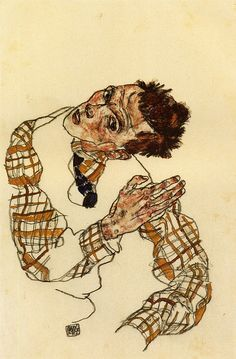 Egon Schiele 1917 Self-Portrait with Checkered Shirt – pc Ath by petrus.agricola, via Flickr