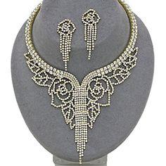 Crystal Rhinestone Fringe Choker Necklace / AZBLRH055-GCL  Price : $70.00 http://www.arrascreations.com/Crystal-Rhinestone-Fringe-Necklace-AZBLRH055-GCL/dp/B00N6AI82I