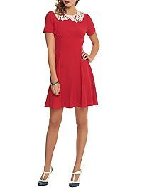 HOTTOPIC.COM - Hell Bunny Red And White Collar Dress