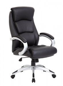 Boss Office Products Boss Leatherplus Executive Chair, Silver/Black *** You can find more details by visiting the image link. (This is an affiliate link) Home Office, Antique Wooden Chairs, Office Chair Without Wheels, Executive Office Chairs, Patio Chair Cushions, Office Seating, Living Room Chairs, Desk Chairs, Bag Chairs