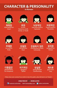 So here are a few words to describe personality and character in Korean. These should also help those of you learning Korean. Which one best describes you?