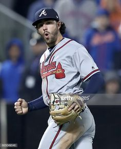 Dansby Swanson Of The Atlanta Braves Celebrates After He Sent The Atlanta Braves Braves Dansby Swanson
