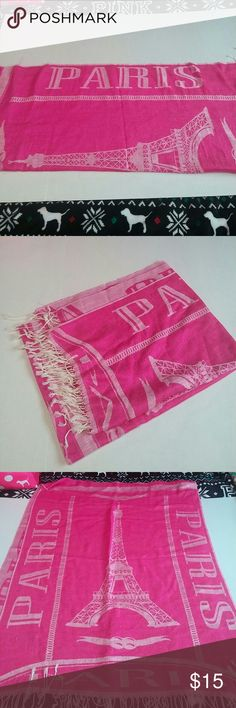 Paris Scarf From the beautiful destination of Paris. New pink Paris fringe scarf. Never worn.  No tags. Accessories Scarves & Wraps