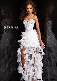 Love the corset top on this hi-lo prom dress (Sherri Hill 1543)