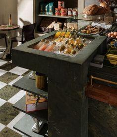 A Revamped, New World Version of an Italian Alimentari: Caffè La Tana in Vancouver Italian Cafe, Italian Meats, Spaghetti House, Vancouver, Modern Architectural Styles, Checkerboard Floor, Canada, Green Marble, Design Studio