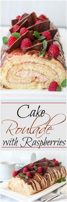 Amazing cake roulade with a dulce de leche cream, raspberry puree and chocolate, lots of chocolate. ValentinasCorner.com