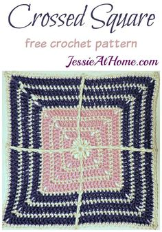 Crochet Granny Squares Design Crossed Square Crochet by Designer Jessie At Home - 15 Crochet Granny Squares Patterns and how to join them together to make beautiful patchwork afghans, blankets, purses, scarves and shawls. Crochet Motif Patterns, Crochet Blocks, Granny Square Crochet Pattern, Crochet Squares, Crochet Granny, Granny Squares, Free Crochet, Crochet Afghans, Ravelry Crochet