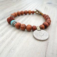 Gypsy Mala Bracelet  Bohemian Brown Wood Coin Charm by GypsyIntent, $22.00