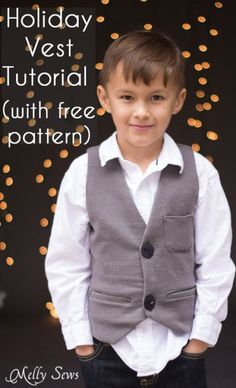 Sew a vest - Boys Holiday Vest with Free Pattern - Melly Sews; free boys size 5 vest for subscibers!