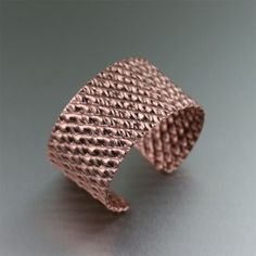 This Double Corrugated Copper Cuff bracelet is handmade using the technique of corrugated folding. The genuine copper is corrugated in two opposing directions, creating an effect that makes the bracelet appear as if it were braided or thatched. Copper Cuff, Copper Bracelet, Copper Jewelry, Cuff Bracelets, Fine Jewelry, Copper Earrings, Jewelry Making, Hammered Copper, Copper Wire