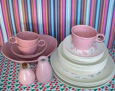 Fantastic collection of Vernon Ware Tickled Pink dishes. No chips or cracks in this set. Salt and pepper shakers need new corks, but other wise would make a ...