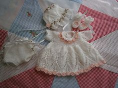 "Hand Knit 4 pc White Daisy Dress Set to fit 10"" Reborn/OOAK Baby Doll"