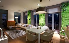Interior design with green walls. SVOYA