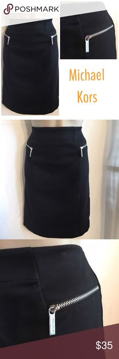 """Michael Kors Black Skirt 6 Like New pre owned. 75% polyester, 25% rayon. Unlined. Rear center zip close. Dual side front zip close hip pockets.  30"""" waist 20"""" length MICHAEL Michael Kors Skirts Mini"""