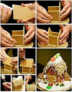 DIY Ideas of Simple Christmas Cookies; Christmas Biscuits, Christmas Baking, Christmas Cookies, Graham Cracker Gingerbread House, Christmas Gingerbread House, Gingerbread House Template, Gingerbread Cookies, Ginger Bread House Diy, Food Art For Kids