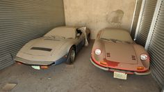 Blue 1977 Maserati Bora Coupe with just 978 miles,Red 1974 Ferrari Dino 246 GTS with 2,910 miles. Both cars were found in a barn in Texas... < I just fainted.