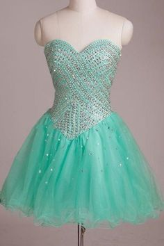 Mint organza sequins sweetheart sequins short homecoming dress