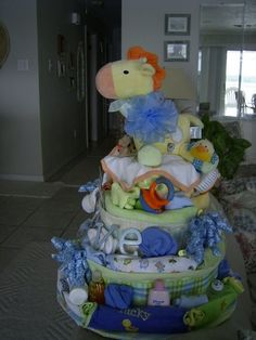 """Diaper """"cake"""" for baby shower centerpiece/gift."""
