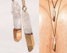 Gypsy Quartz Point Necklace | Gold Dipped Clear Quartz Crystal Pendant | Boho Chic Healing Necklace | Natural Chakra Stone Pendant Gold Fill
