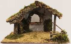 Deluxe wooden stable for nativity display, well-made from real wood and decorated with bark, moss and straw for realistic appearance. x x cm x 30 cm x 25 cm). Suits 4 - 6 inch nativity sets, eg Made in Italy. Christmas Crib Ideas, Christmas Wood Crafts, Christmas Nativity Scene, Christmas Bells, Christmas Pictures, Christmas Projects, Christmas Decorations, Christmas Diy, Nativity Stable