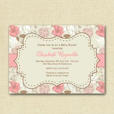Vintage Flowers Roses Hydrangea Baby Shower by MommiesInk on Etsy, $12.75