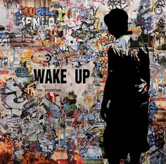 Wake up for Freedom 02 - Peinture,  100x2x100 cm ©2014 par TEHOS -                                                            Documentaire, Autre, Politique, tehos, tehos painting, acrylic, collage on canvas, collage, pop art, street art, political vue, point of vue, freedom of speak, liberty