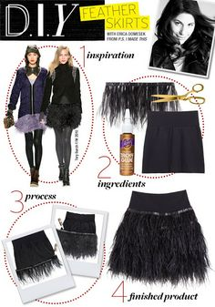 little black sequin: diy: feather skirts