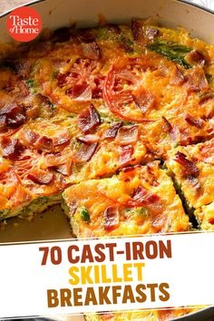 Grab your cast-iron skillet! It's time to make one of these sizzlin' cast-iron recipes, from frittatas and scrambles to puff pancakes. Cast Iron Skillet Cooking, Iron Skillet Recipes, Cast Iron Recipes, Skillet Meals, Skillet Food, Breakfast Skillet, Breakfast Dishes, Breakfast Recipes, Camping Breakfast