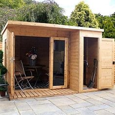 10x8 Wooden Summerhouse ♦ Rosemary Summer House ♦ Shiplap T&G ♦ Side Shed & Felt