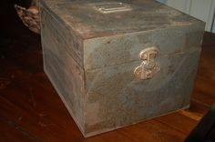 Vintage Grey Rustic Large Square Tool Box Metal by RecycledVision