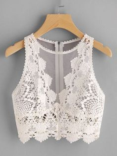 croptop fiesta Scallop Lace Applique Exposed Zip T - croptop Sheer Lingerie, Lingerie Set, Look Fashion, Fashion Outfits, Womens Fashion, Cooler Look, Body Suit Outfits, Scalloped Lace, Lingerie Collection