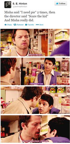 #Supernatural #Castiel needs pie.