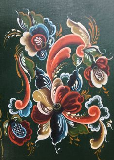 Telemark painted by Allie Tole Painting, Fabric Painting, Painting On Wood, Painting & Drawing, Folk Art Flowers, Flower Art, Rosemaling Pattern, Norwegian Rosemaling, Traditional Paintings