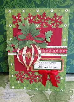 "Handmade Anna Griffin Holiday Trimmings Vintage ""Celebrate the Season"" Card"