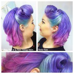 50s Hairstyles, Vintage Hairstyles, Wedding Hairstyles, Vibrant Hair Colors, Colours, Pin Up Hair, Hair Color And Cut, Mermaid Hair, Rainbow Hair