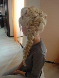 Long braid and curls wedding hair prom style formal braid long updo curls bridal