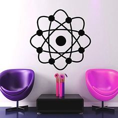Atom Wall Decals Vinyl Decal Interior Design Nursery Bedroom Home Decor Planet Art Space Stickers Mural Ah171 * Continue to the product at the image link.