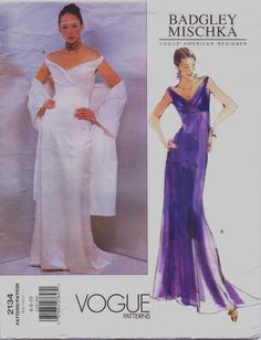 90s Vogue American Designer Pattern 2134 Badgley Mischka Womens Evening or Wedding Dress & Shawl Size 6 8 10 Bust 30 1/2 to 32 1/2 UnCut
