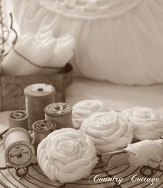 Pretty Fabric Roses- would be cute to attach to a throw pillow