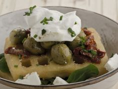 Sundried Tomatoes, Olives, Feta & Greek Yoghurt on a potato waffle