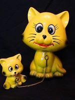 Vintage Ceramic Mother Cat & Kitten Figurines on Gold Chain Japan Yellow Kitsch