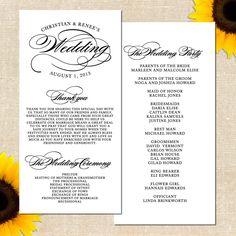Classic Script Wedding Program DIY by YellowBrickGraphics on Etsy, $30.00