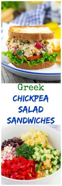 Greek Chickpea Salad Sandwiches {vegan} - Smashed chickpeas mixed with ...
