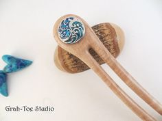 Hair Fork SnapCurly Maple Wood A2 Fork Double by grahtoestudio