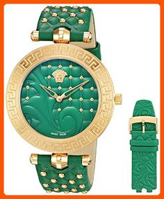 be12a48bd35a Versace Women s  VANITAS  Swiss Quartz Stainless Steel and Green Leather  Casual Watch (Model