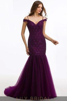 Mermaid Lace and Tulle V-Neckline Dropped Waist Mermaid Prom Dress Prom Dresses  2017 e55b10624305
