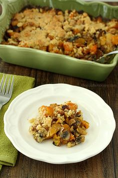 Butternut Squash Crumble      2 tablespoons olive oil     1/2 cup onion, chopped     2 cloves garlic, minced     2 strips bacon or pancetta, chopped     1 cup mushrooms, chopped     3 cups butternut squash, peeled and cut into 1-inch cubes     2 tablespoons fresh parsley (I used 1 teaspoon dried parsley)     1/2 cup chicken stock     Salt and pepper  Crumble      3/4 cup all purpose flour     1/4 cup walnuts, finely chopped     1 tablespoon brown sugar     1 tablespoon fresh thyme (I used…
