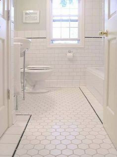 Small bathroom pictures ideas best bathroom tiles 2018 okazpro co 14 bathroom design trends for 2020 bathroom flooring ideas 2019 the best bathroom tile ideas [. 1940s Home, White Subway Tile Bathroom, Traditional Bathroom, Kitchen And Bath, White Subway Tiles, White Bathroom, Flooring, Bathroom Flooring, Bathroom Inspiration