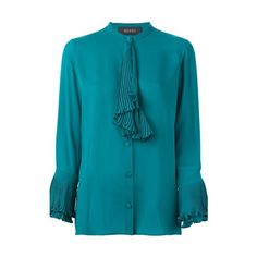 GUCCI Plissé Placket Blouse ($993) ❤ liked on Polyvore featuring tops, blouses, green, green long sleeve blouse, button front blouse, green silk top, long sleeve silk blouse and blue long sleeve blouse