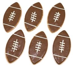 $9.36 Wheat-free #Football #Dog #Treats - Your #dogs can celebrate your favorite #sport and #SuperBowl with these WHEAT-FREE, football #cookies.  Package of 4.  Ingredients: oat flour, rye flour, sweet potato, whole eggs, potato starch, carob coating, yogurt coating.  Made in the #USA.  #pets #puppies #sports #shop #cute #onlineboutique #retail #NFL #NCAA